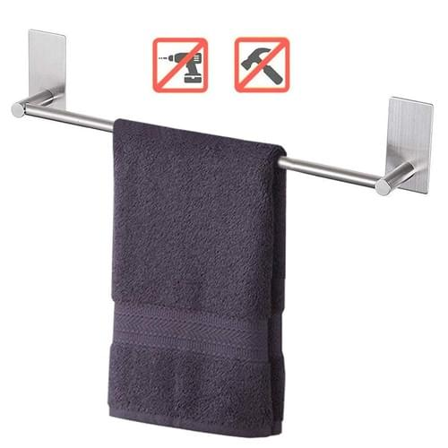 NearMoon Self Adhesive 16-Inch Bathroom Towel Bar- Brushed Nickel Stainless Steel Bath Wall Shelf Ra