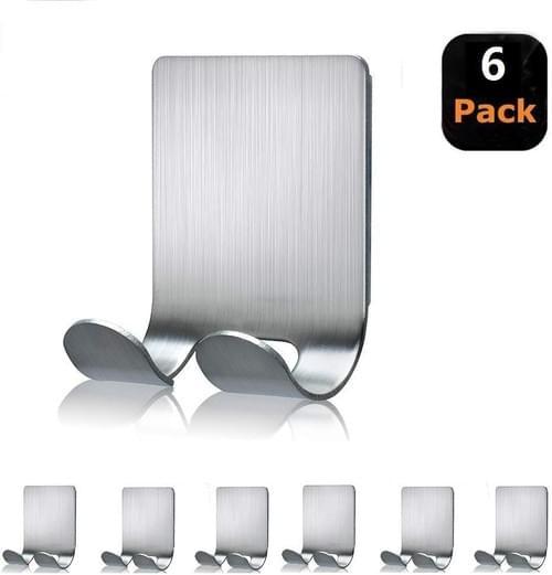 NearMoon Wall Hooks(6 Packs)-Razor Holder for Shower - Shaver Holder Hook Hanger Stand Stainless Ste