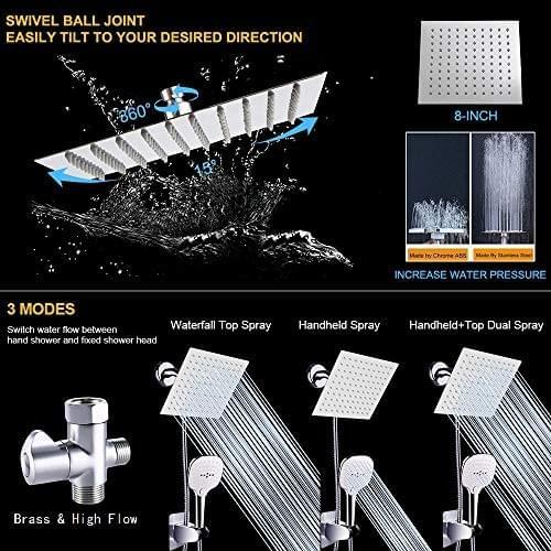 Nearmoon 8 Inch Rain Showerhead and 3 Settings Handheld Comb, Shower Head with Hose