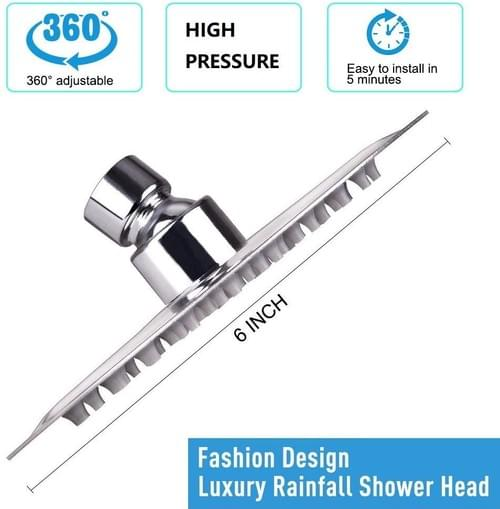 HIGH PRESSURE Shower Head, 6 Inch Rain Showerhead, Ultra-Thin Design-Best Pressure Boosting, Awesome