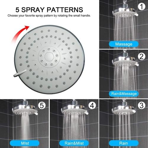 Shower Head High Pressure Rain Fixed Showerhead Rainfall 5-Setting with Adjustable Swivel Ball Joint