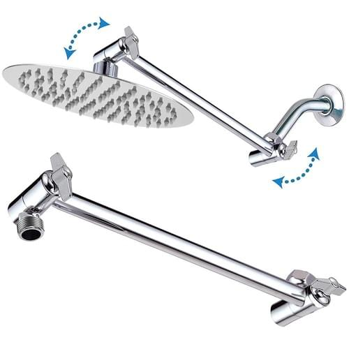 11 Inch Adjustable Shower Arm Universal Connection, Nearmoon Solid Brass Shower Extension Arm ,Adjus
