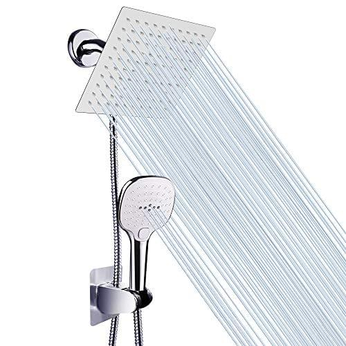Nearmoon 8 Inch Rain Showerhead and 3 Settings Handheld Comb, Shower Head with Hose