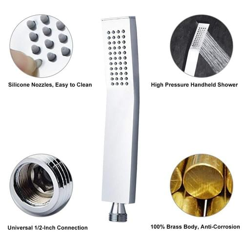 Brass Hand Held Shower Head, Luxury High Pressure Showerhead kit With Wall Connector and Hose Set, f