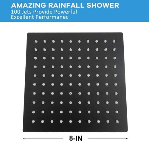 High Pressure Matte Black Shower Head, 8 Inch Square Rain Showerhead, Ultra-Thin