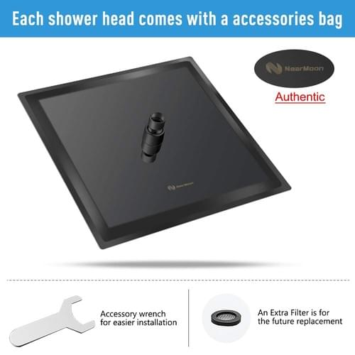 12 Inches Square Shower Head, NearMoon Stainless Steel Rain Shower Head Full Body Covering with Powe