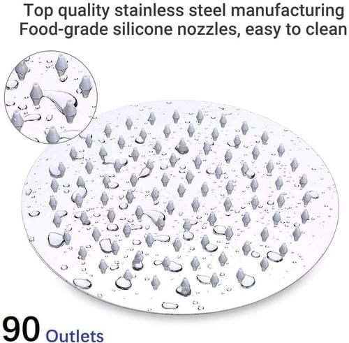 NearMoon Shower Head combo, 8-Inch Stainless Round Steel Rain Shower Head and 5-setting HandHeld