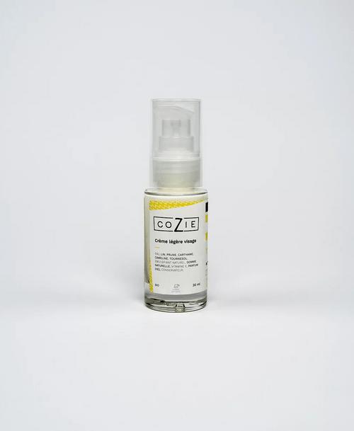 Crème légère visage au gel de lin et huile de prune - COZIE - 30 mL - (1,5€ de consigne)
