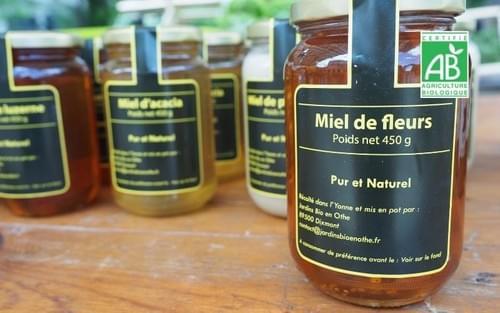 Miel 450 g -1 pot - Jardins BIO en Othe - Yonne (89)