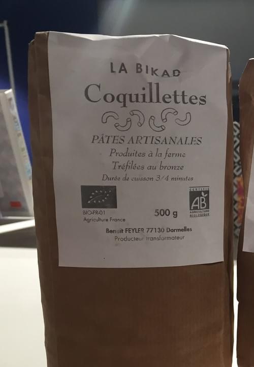 Pâtes artisanales coquillettes blé dur BIO - 1 paquet - Ferme de la Bikad (77)