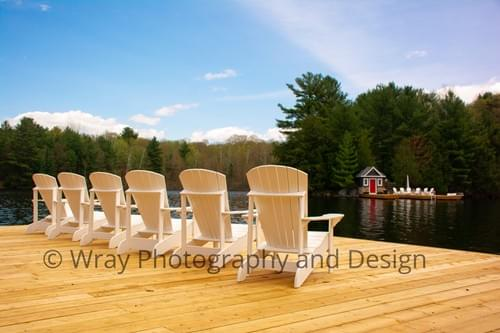 White Muskoka Chairs view across, 11 x 14, in black frame