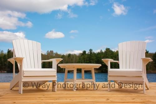 White Muskoka Chair & Table, Canvas