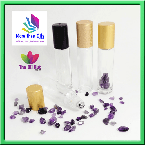 10ml Clear Rollers with Amethyst Crystal Chips
