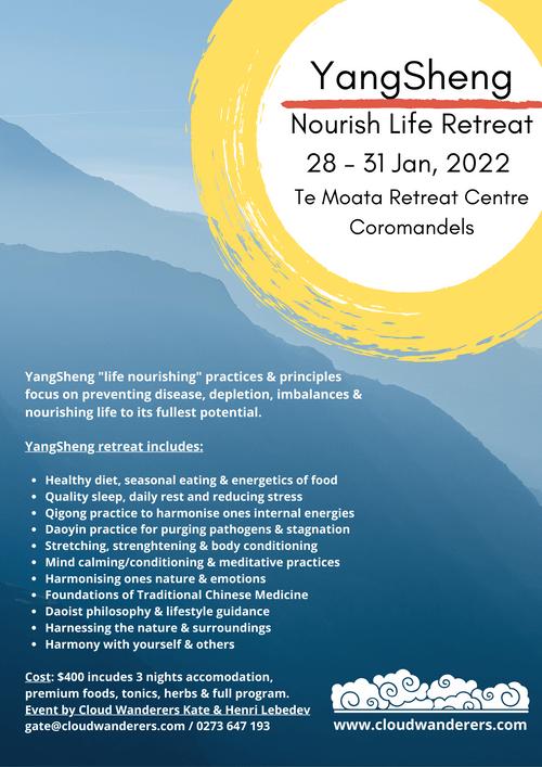 YangSheng:  Nourishing Life Retreat, 28 - 31 Jan, 2022 @ Coromandel