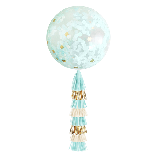 Giant Confetti Balloon-Light Blue & Gold