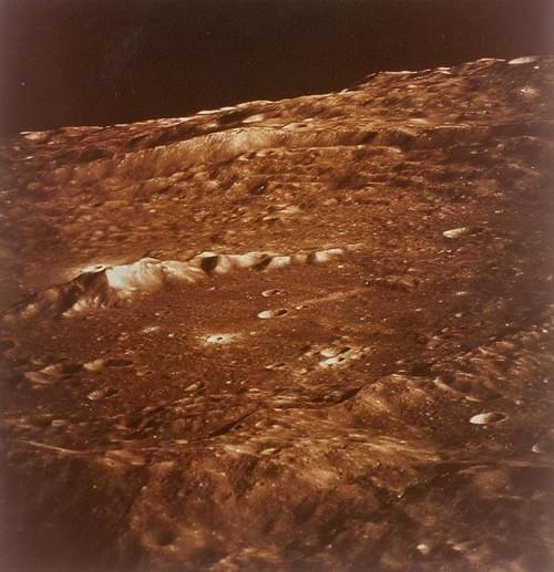 Lunar surface seen from the command module, Apollo 10, May 1969