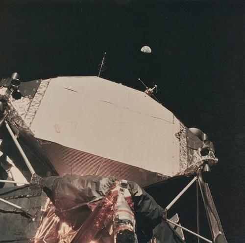 The Lunar Module taken in the low angle with the Earth in the background, Apollo 11, July 1969
