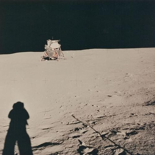 The Lunar Module with Neil Armstrong's shadow on the ground, Apollo 11, July 1969