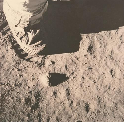 Buzz Aldrin immortalizing the footprint left by his boot in the lunar dust, Apollo 11, July 1969
