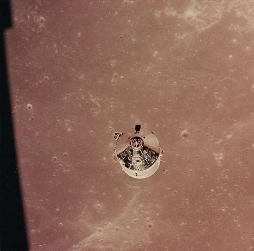 The Lunar Module approaching the lunar surface, Apollo 11, July 1969
