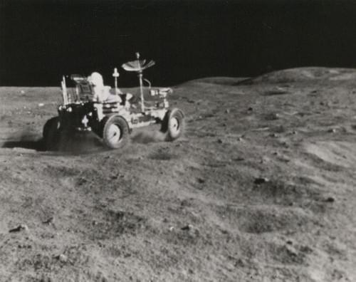 NASA John Young driving the lunar rover, Apollo 16, April 1972