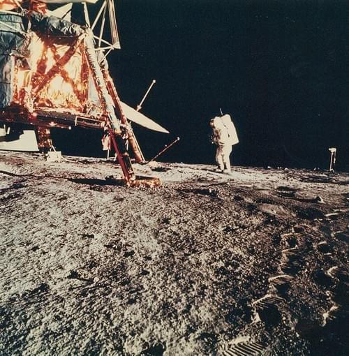 Alan Bean near the lunar module, Apollo 12, November 1969