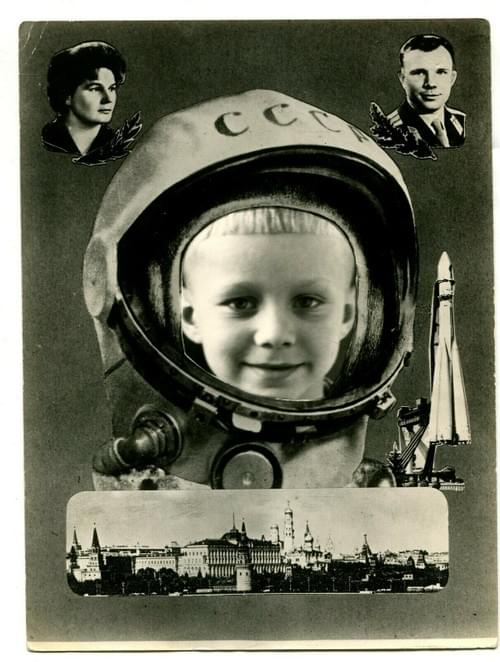 Russian 1960 Young Cosmonaut Gagarin Tereshkova Photo Montage Soviet Space