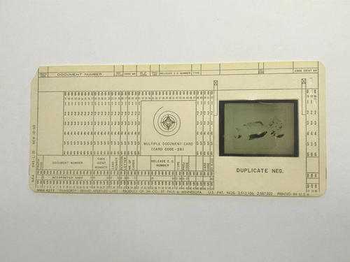 Original Apollo Program Master Negative IBM Document Card NA Rockwell / NASA 16