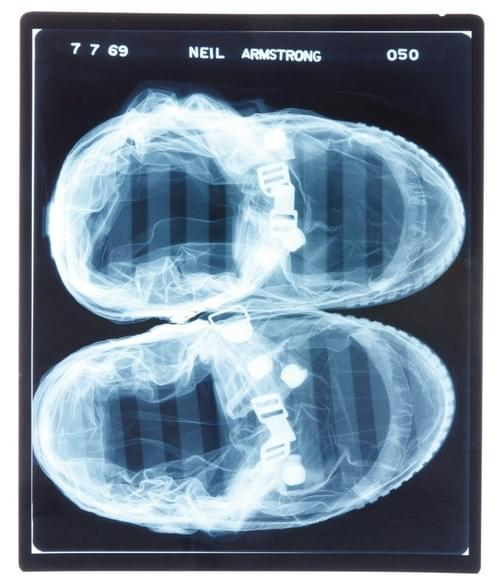 Apollo 11 x-rays of neil armstrong's spacesuit cover layer boots