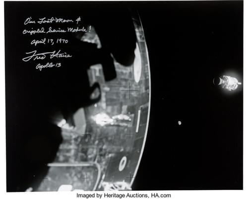 Fred Haise Signed Large Apollo 13 Damaged Service Module Photo.