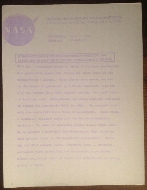 1965 GEMINI IV Edward WHITE EVA First American Spacewalk