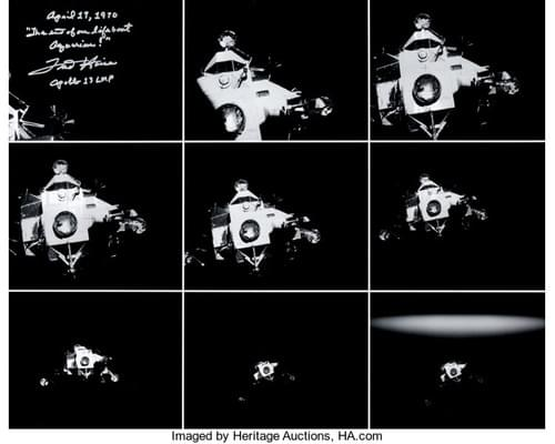 Fred Haise Signed Large Apollo 13 Lunar Module Composite Photo.