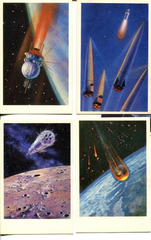 Set of 16 PC 1968 Leonov Sokolov Space Paintings Famous Russian Soviet Astronaut