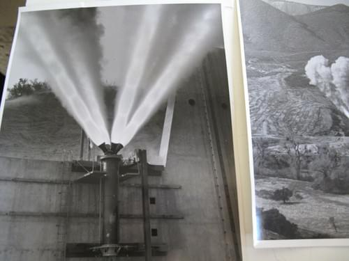 Apollo : Two vintage Photos Project Test Firing Lockheed Propulsion w/Letter 8x10