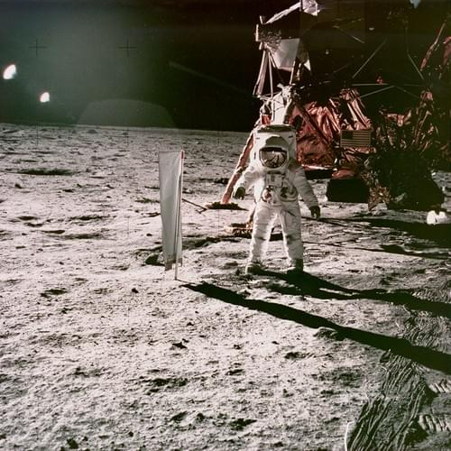 Apollo 11 original 8x8 NASA photograph of Aldrin and LEM.