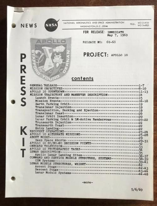 Apollo 10 Press Kit PLUS Apollo 10 Mission Report