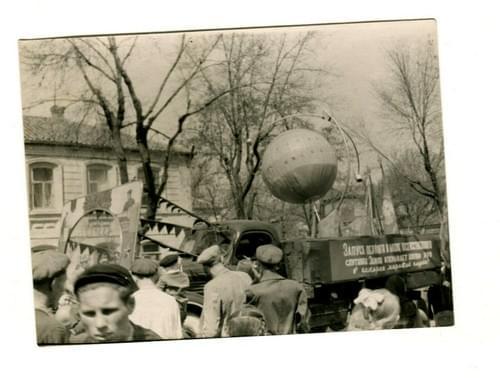 Russian 1957 First Space Sputnik satellite Soviet Parade Photo USSR