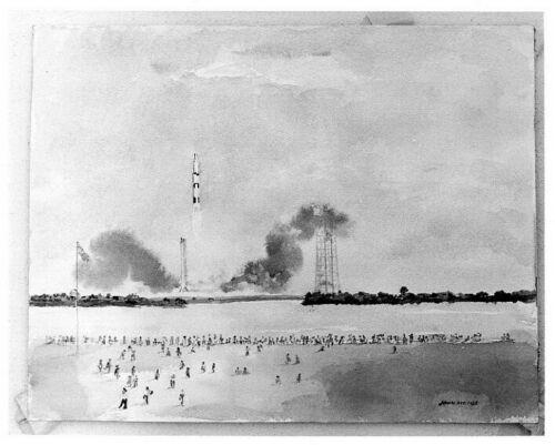 APOLLO 11  - Artist John Meigs Sketch of Launch
