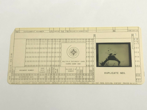 Original Apollo Program Master Negative IBM Document Card NA Rockwell / NASA 19