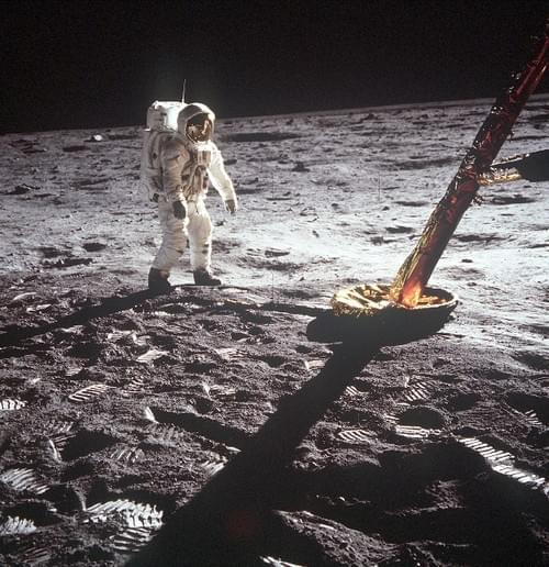Apollo 11 original 8x8 NASA photograph of Aldrin & LM Leg