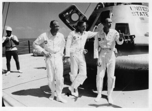 APOLLO 11 Astronauts Pose Recovery Training