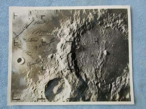 NASA Ranger 9 Moon photo w signatures – Stamped numbered Atlas LV-3 Agena B