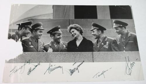 Early Cosmonauts Signed Russian Photo, Gagarin