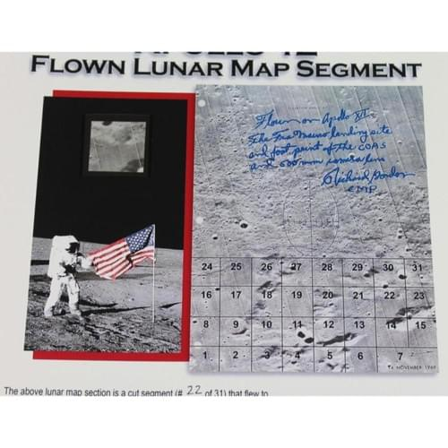 Apollo 12 Flown Lunar Map Section on Certificate. Exceptional