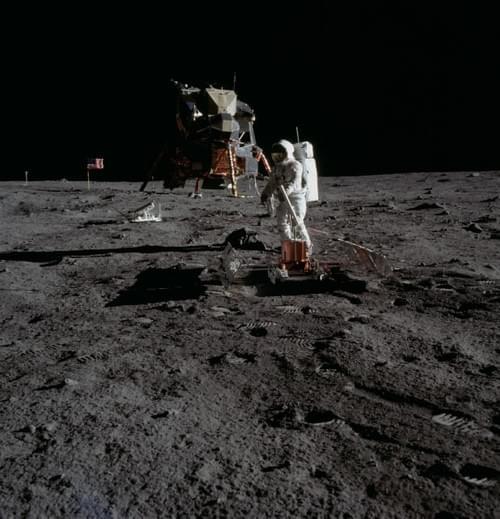 Apollo 11 original 8x8 NASA photograph of Aldrin with LEM in background