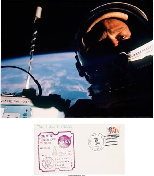 """First Selfie"" Color Photo of Buzz Aldrin"