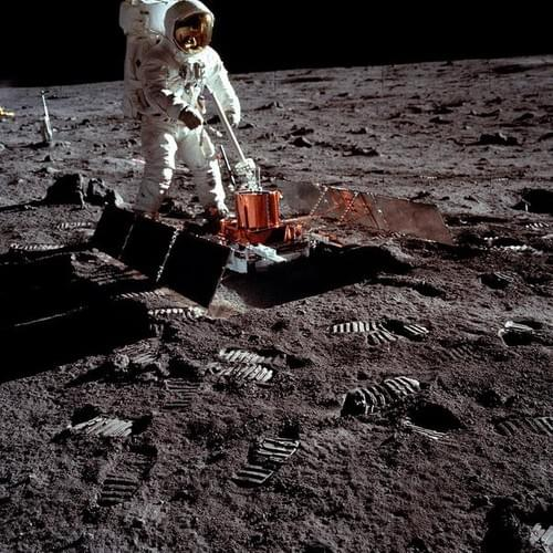 Apollo 11 Aldrin Prepares To Deploy Easep Components On Moon