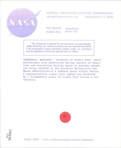NASA original photo of a cosmic dust meteorid (1966)