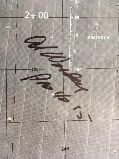 Apollo 15 Lunar Orbit Monitor Chart. Signed by Al Worden