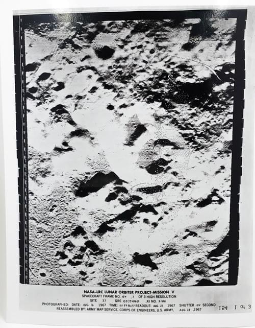 Rare 1967 NASA Moon Photo by Lunar Orbiter Mission 5 Army Map Apollo